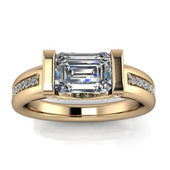 Unique Emerald Cut Moissanite Engagement RIng - Sonny