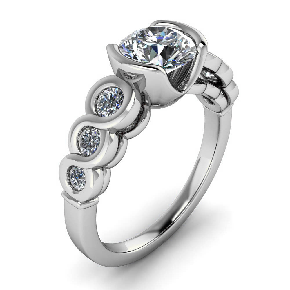 Bezel Set Moissanite Engagement Ring - Loops of Love - Moissanite Rings