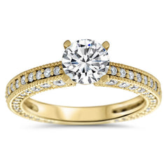 Antique Inspired Diamond Engagement Ring Moissanite Center-  Erin