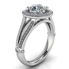 Round Split Shank Diamond Moissanite Engagement Ring - Paloma - Moissanite Rings