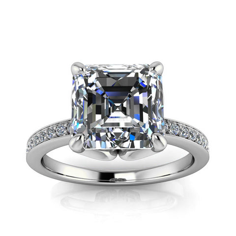 Moissanite Engagement Ring Diamond Setting Asscher Cut - Manila - Moissanite Rings