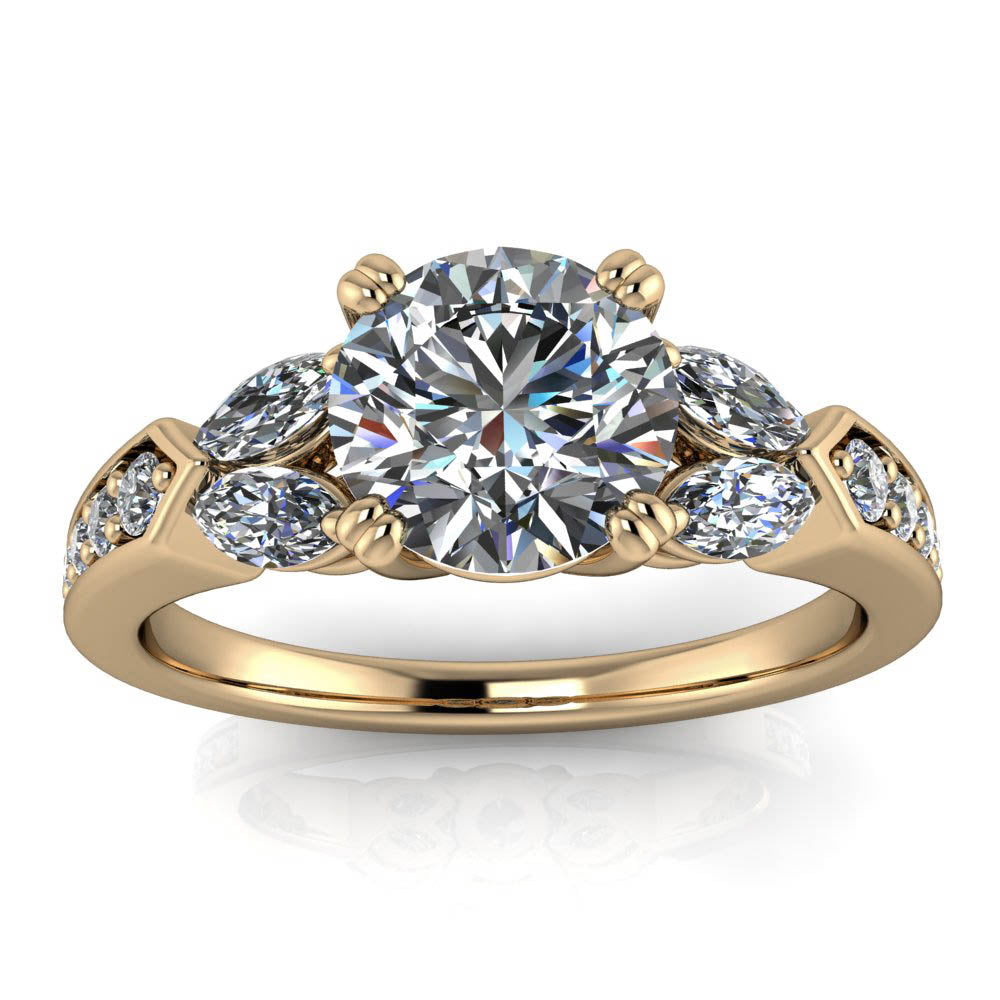 Engagement Rings With Moissanite: Diamond Marquise And Moissanite Engagement Ring
