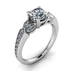 Diamond Marquise and Moissanite Engagement Ring - Madrid - Moissanite Rings