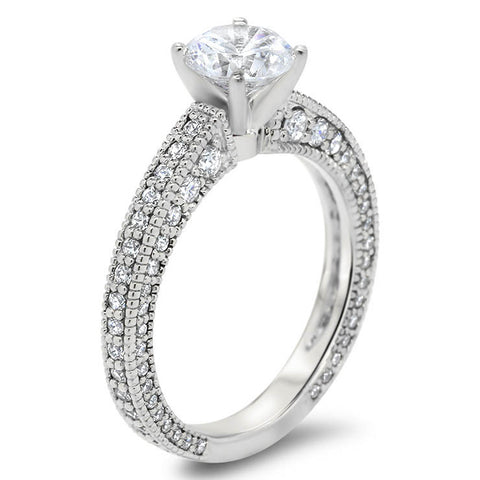Antique Inspired Diamond Engagement Ring Moissanite Center-  Erin - Moissanite Rings