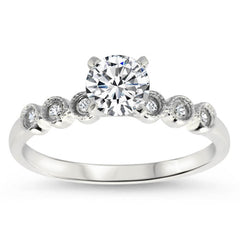 Dainty Diamond Wedding Set Moissanite Center - Cara Wedding Set - Moissanite Rings