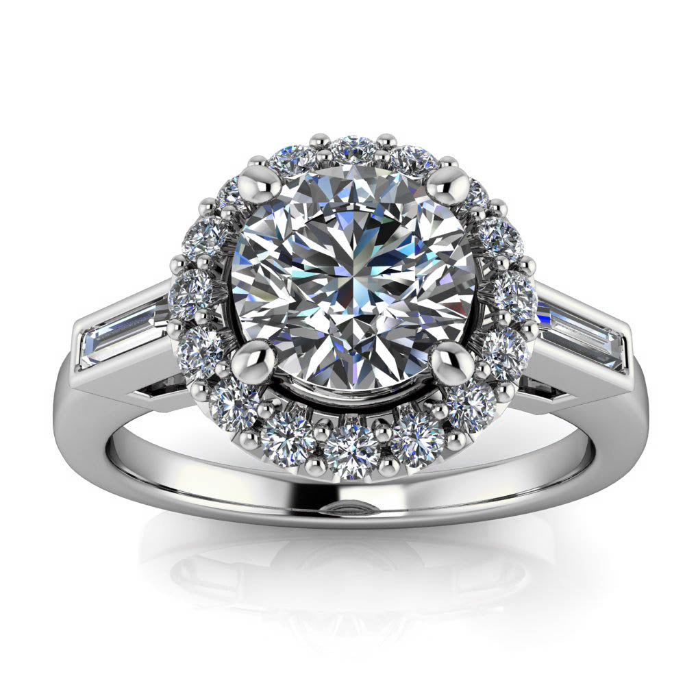 Diamond Halo Moissanite Engagement Ring - Royce