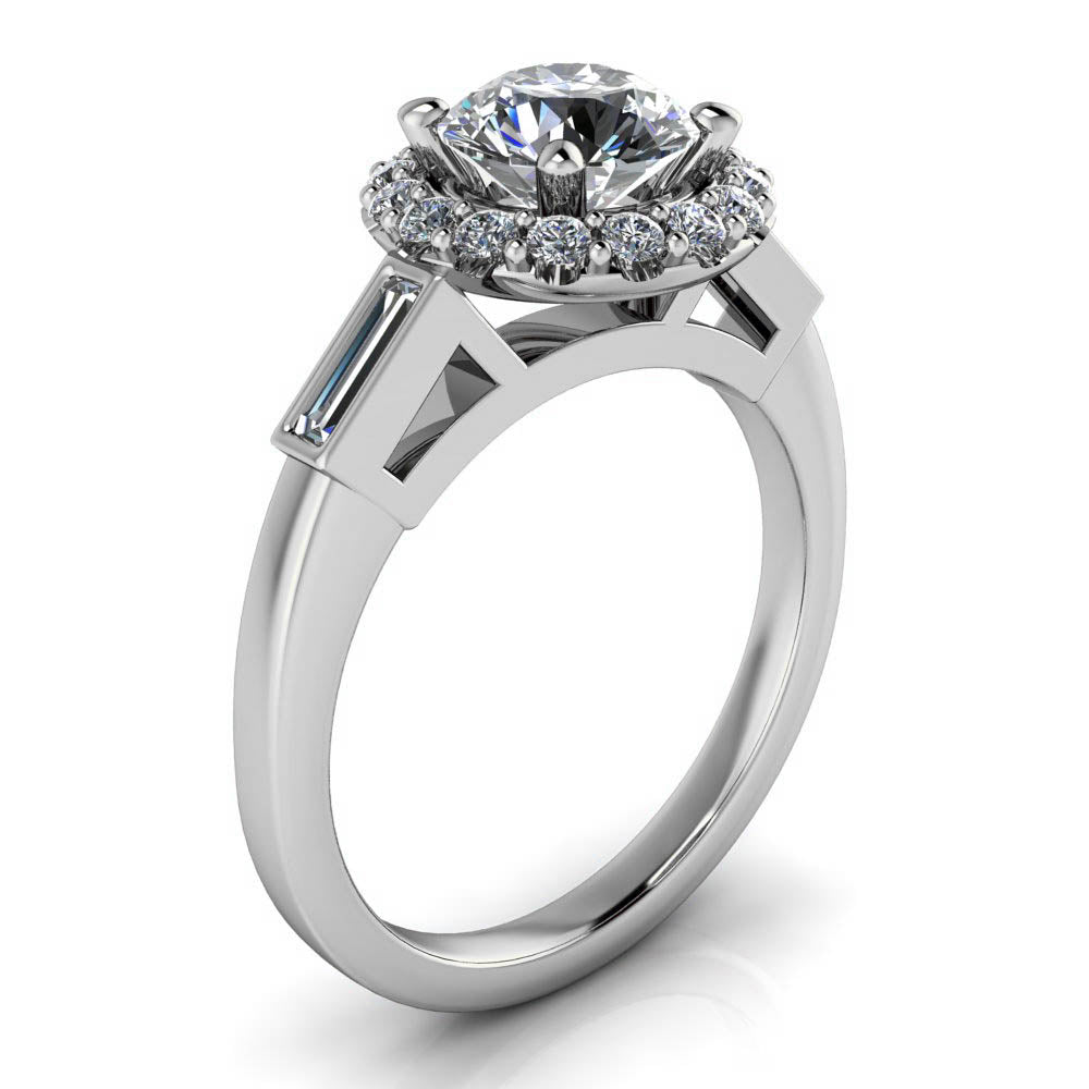 Diamond Halo Moissanite Engagement Ring - Royce - Moissanite Rings