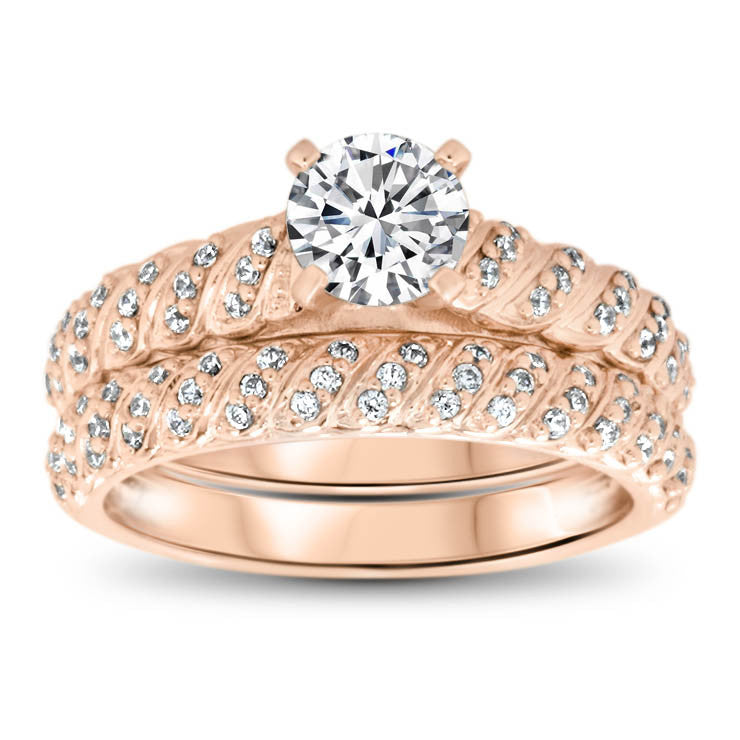 Diamond Accented Engagement Ring - Striped Wedding Set - Moissanite Rings