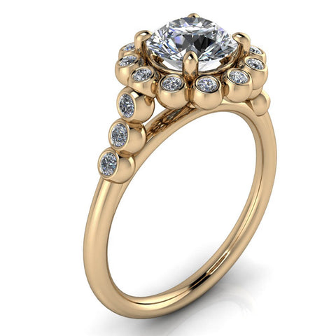 Bezel Set Diamond Halo Engagement Ring - Emmerson - Moissanite Rings