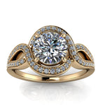 Twisted Halo Engagement Ring Setting Moissanite Center - Sena - Moissanite Rings