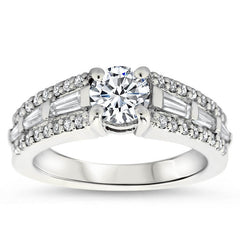 Tapered Baguette Diamond Engagement Ring Setting - Happy - Moissanite Rings