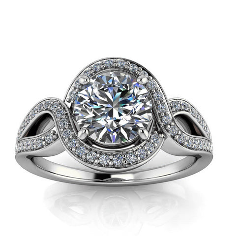 Twisted Halo Engagement Ring Setting Moissanite Center - Sena