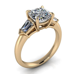Cushion Cut Moissanite and Diamond Engagement Ring - Chicago - Moissanite Rings
