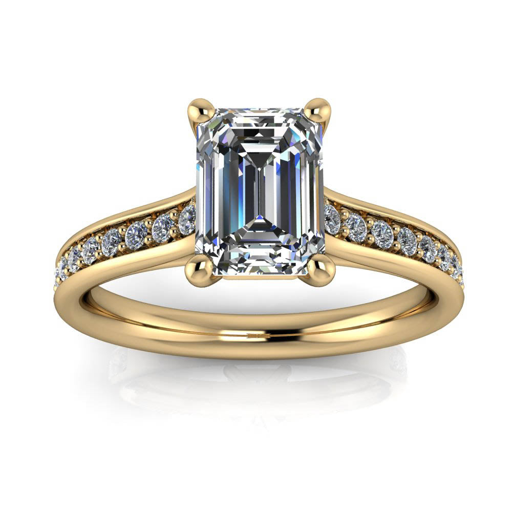 Classic Emerald Cut Engagement Ring Diamond Setting - Emma - Moissanite Rings