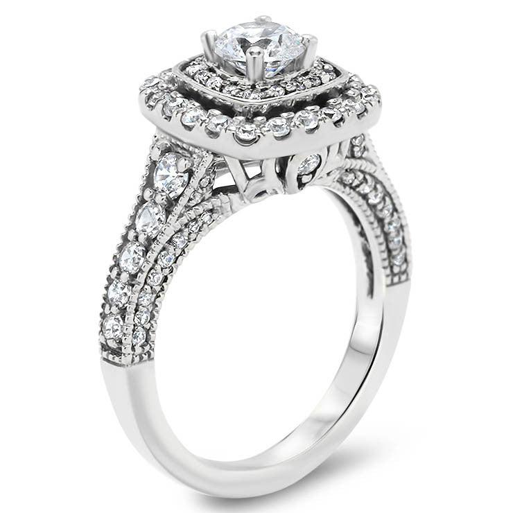 Fancy Double Halo Moissanite and Diamond Engagement Ring - Aurora - Moissanite Rings