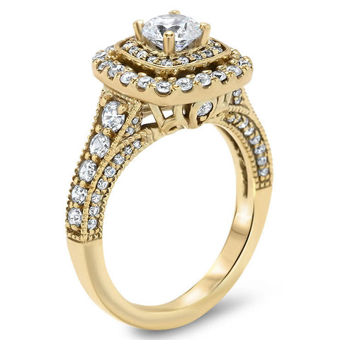 Fancy Double Halo Engagement Ring - Aurora