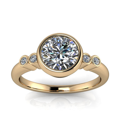 Bezel Set Moissanite and Diamond Engagement Ring - Skylar - Moissanite Rings
