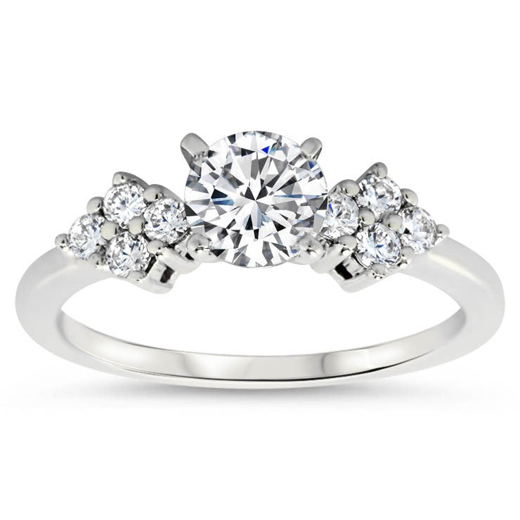 Diamond Accented Engagement Ring with Matching Wedding Band - Love Cluster Wedding Set - Moissanite Rings