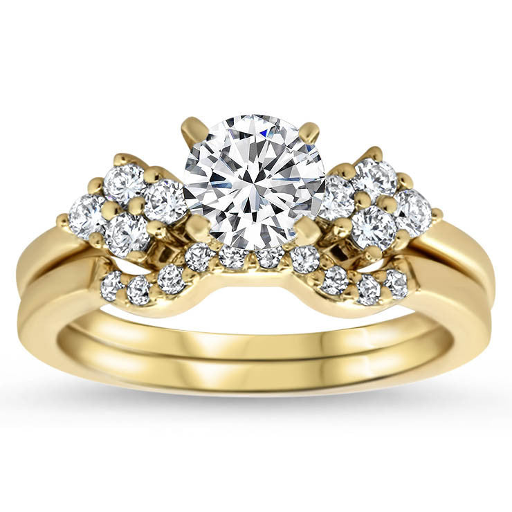 Diamond Accented Engagement Ring with Matching Wedding Band Love