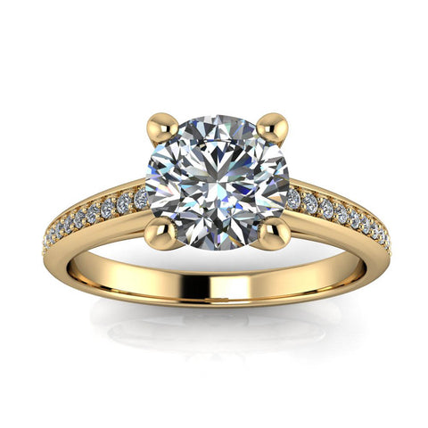 Diamond Accented Engagement Ring Moissanite Center - Madeline - Moissanite Rings