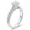 Forever One Moissanite Engagement Ring Diamond Accented Engagement Ring - Striped - Moissanite Rings