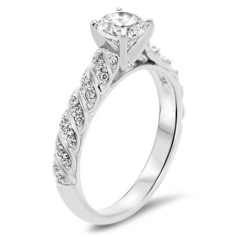 Diamond Accented Engagement Ring - Striped
