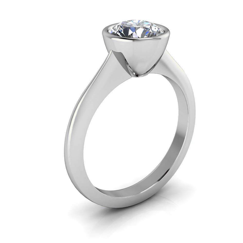 Bezel Set Solitaire Knife Edge Engagement Ring - Always 7.5mm - Moissanite Rings