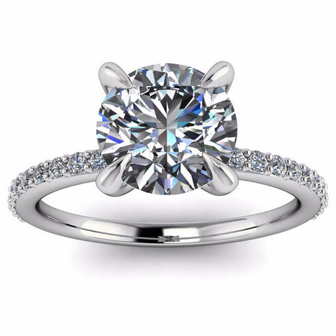 Single Row Diamond Engagement Ring Moissanite Center - Bali - Moissanite Rings