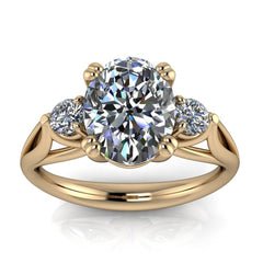 Three Stone Oval Engagement Ring - Nathan