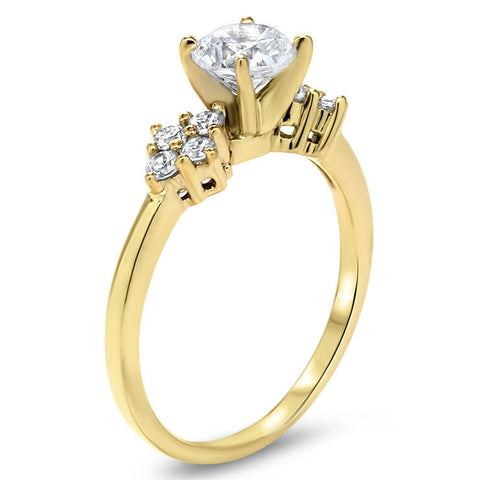 Forever One Moissanite Diamond Accented Engagement Ring - Love Cluster - Moissanite Rings