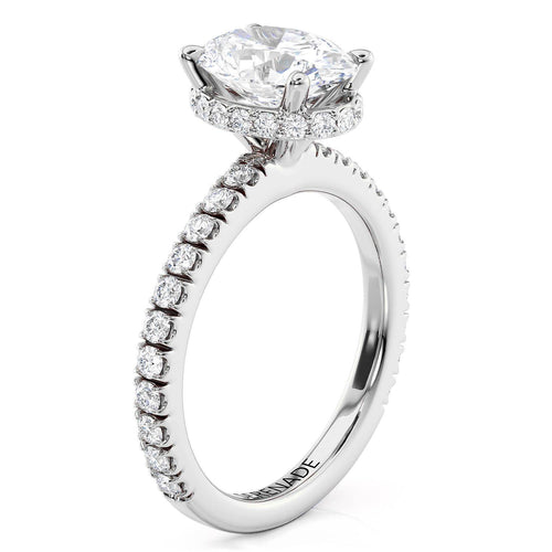 Oval Hidden Halo Diamond Setting Moissanite Center - Aussie