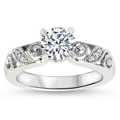 Romantic Diamond Filigree  Swirl Engagement Ring Moissanite Engagement Ring  - Swirl