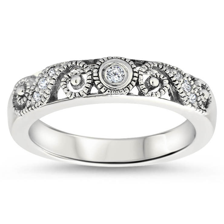 Diamond Filgre Style Wedding Band - Swirl Band - Moissanite Rings