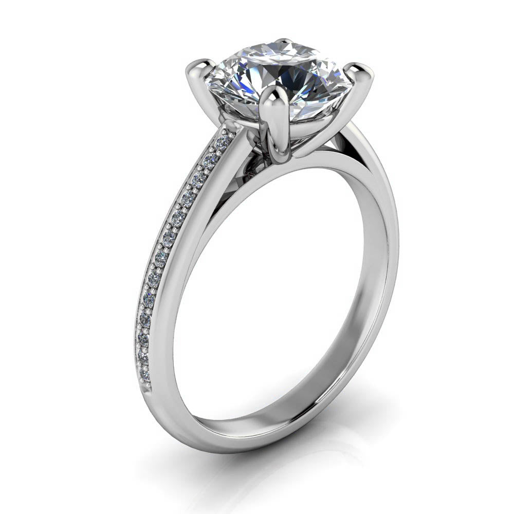 Engagement Rings With Moissanite: 2 Carat Moissanite And Diamond Engagement Ring