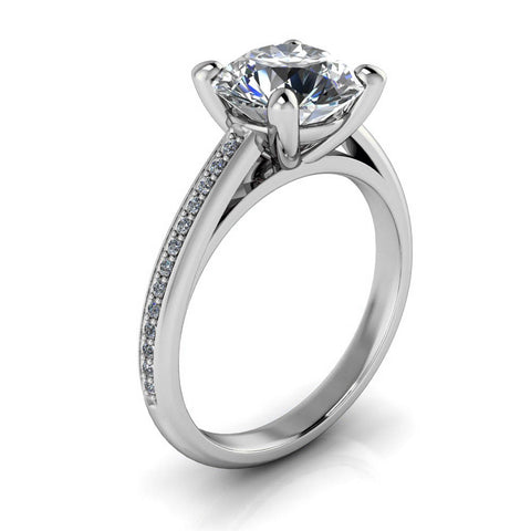 2 carat Moissanite and Diamond Engagement Ring - Madeline 2 ct - Moissanite Rings