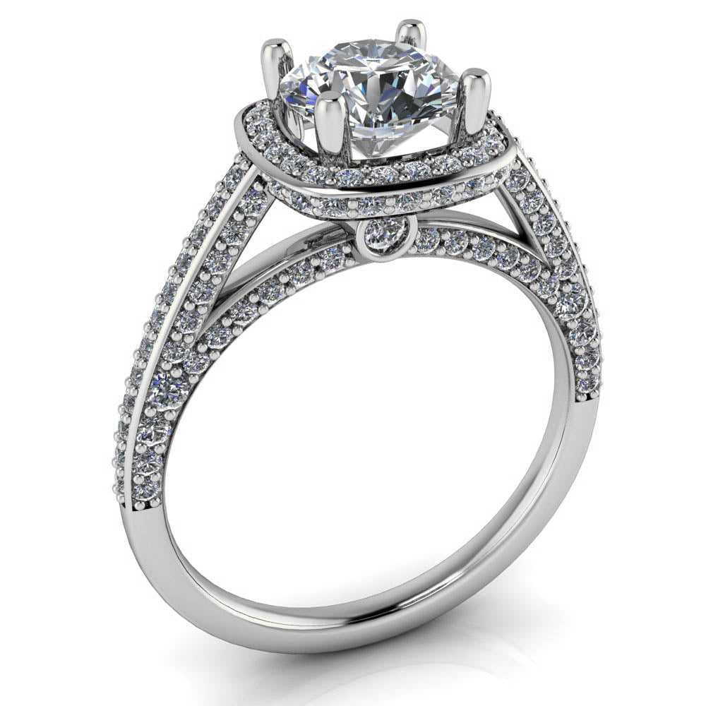 Cushion Shaped Halo Round Center Moissanite Engagement Ring - Valentina - Moissanite Rings