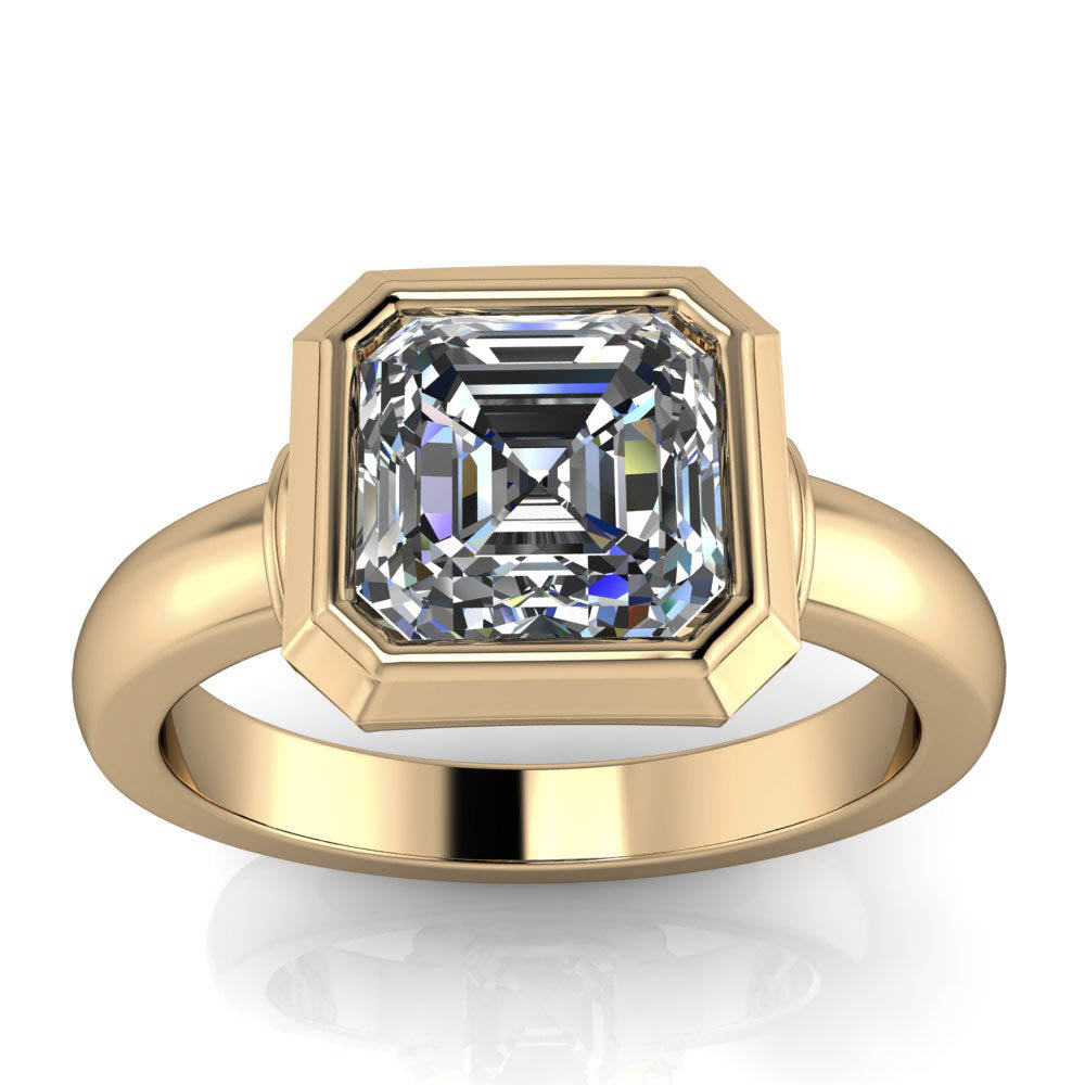 Bezel Set Asscher Cut Moissanite Engagement Ring - Hailey - Moissanite Rings