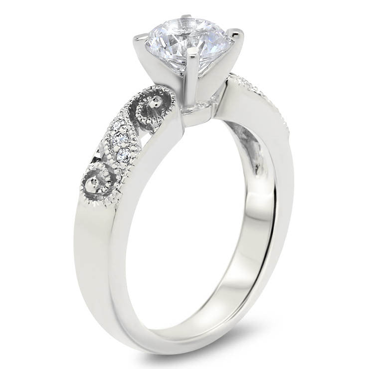 Romantic Diamond Filigree  Swirl Engagement Ring Moissanite Engagement Ring  - Swirl - Moissanite Rings