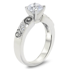 Whimsical Diamond Filigree Wedding Set Moissanite Center - Swirl  Wedding Set - Moissanite Rings