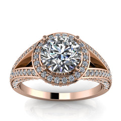 Split Shank Diamond Halo Moissanite Engagement Ring - Linda Round