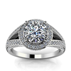 Split Shank Diamond Halo Moissanite Engagement Ring - Linda Round - Moissanite Rings