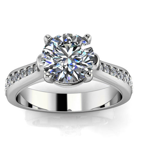 Diamond Accented Moissanite Engagement Ring - Kennedy - Moissanite Rings