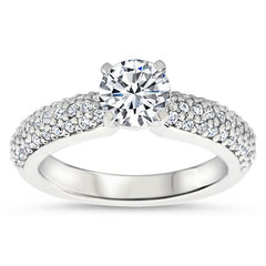 Diamond Pave Wedding Set Engagement Ring and Wedding Band - Pip Set - Moissanite Rings