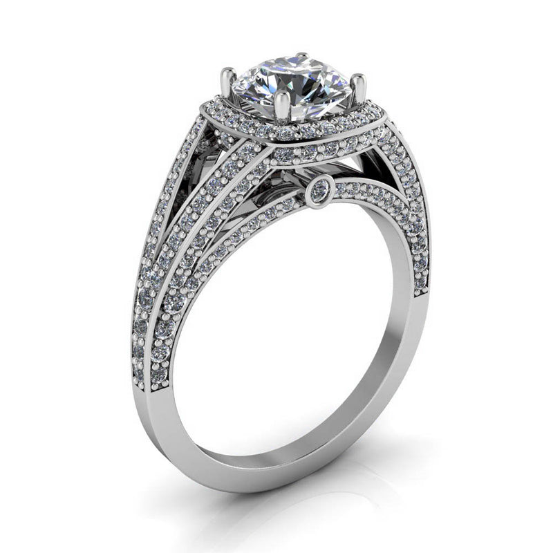 Cushion Shaped Halo Round Center Split Shank Setting - Linda - Moissanite Rings