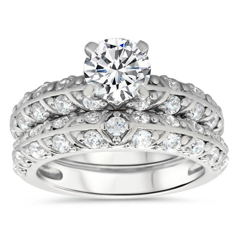 Beautiful Two Row Diamond Wedding Set - Branch  Set - Moissanite Rings