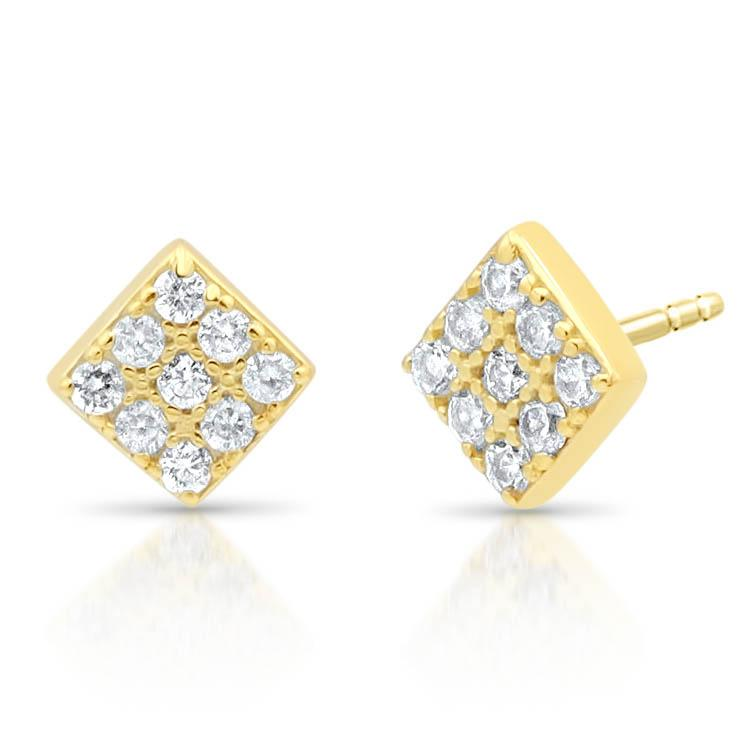 Diamond Pave Studs Tiny Square