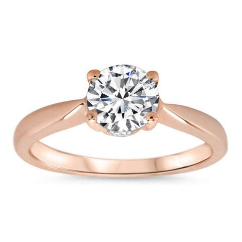 Solitaire Engagement Ring Surprise Diamond Moissanite Center - Lara - Moissanite Rings