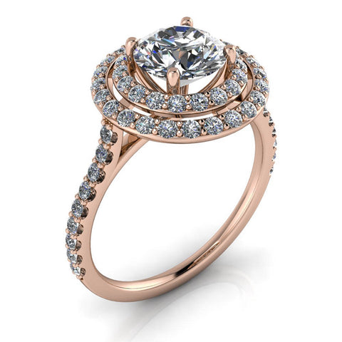 Double Halo Engagement Ring - Donatella - Moissanite Rings