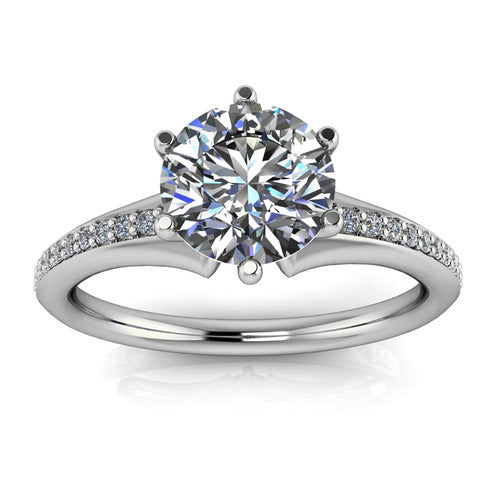 Six Prong Diamond and Moissanite Engagement Ring - Ariel - Moissanite Rings
