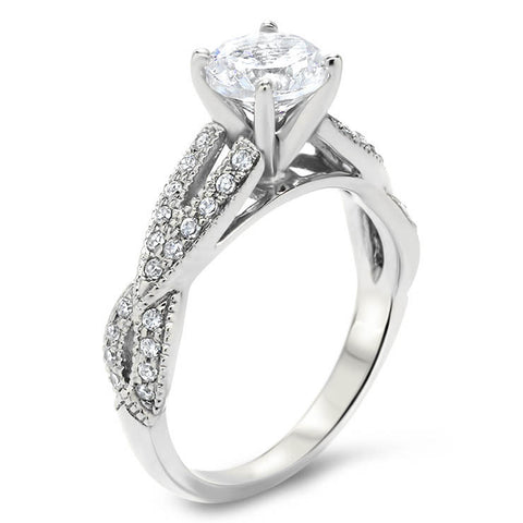 Criss Cross Diamond Wedding Set - Lexi Set - Moissanite Rings